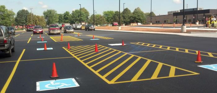 asphalt striping, parking lot striping, pavement striping